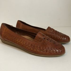 Vintage Woven Leather Slip Ons